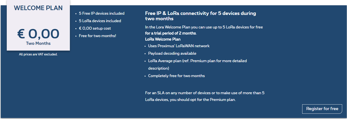 LoRa Welcome plan available : Build an IoT prototype for free