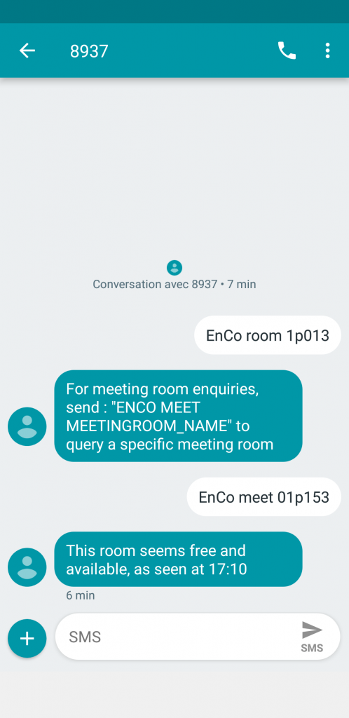 SMS bot for meeting rooms